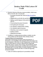 Common Mistakes Made With Letters of Credit