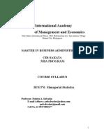 Managerial Statistics Syllabus