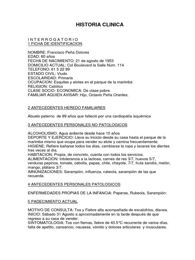 Historia Clinica Neumonia Neumonia Enfermedades Respiratorias