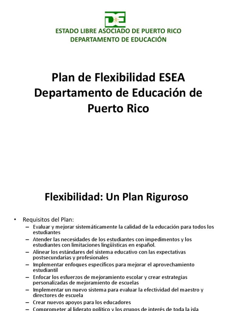 Plan de Flexibilidad ESEA Departamento de Educación de Puerto Rico