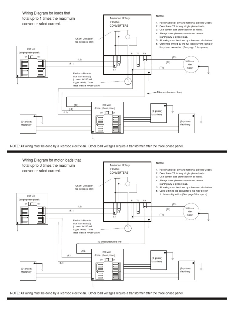 wiring diagrams for rotary phase convertor  electrical