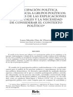 PARTICIPACIÓN POLÍTICA  Y PERTENENCIA A GRUPOS POLÍTICOS-  LOS LÍMITES DE LAS EXPLICACIONES  INDIVIDUALES Y LA NECESIDAD  DE CONSIDERAR EL CONTEXTO  POLÍTICO