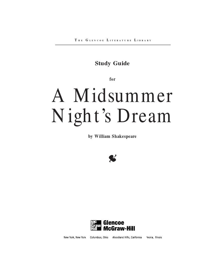 midsummer nights dream study glencoe | A Midsummer Night's Dream | William  Shakespeare