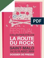 festival la route du rock 2009 - dossier de presse