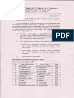 CBIT B Category Merit List 2011-12