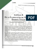 ESTATUTO DEL DOCENTE  Cap X De la Clasificación del Personal Pág 66-68