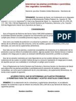 DOF 15 Dic 1999 ACUERDO Por El Que Se Determinan Las Plantas Prohibidas o Permitidas