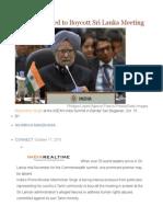 India PM Urged to Boycott Sri Lanka Meeting