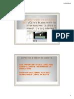 metodologia de análisis táctico y como transmitirlo a los jugadores. Clinic Alto Rendimiento 2012. Ponencias Jose Francisco Nolasco Menargues