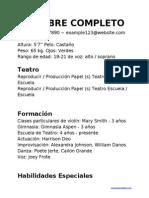 Curriculum Vitae Teatro