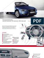Audi A5, S5, RS 5 Cabriolet Models Kurzanleitung Owner's Manual (Germany, 2013)