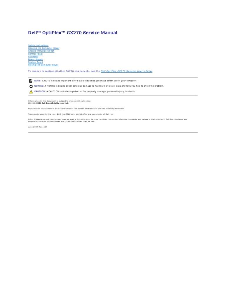 optiplex gx270 service manual es mx electrostatic discharge rh scribd com dell optiplex gx270 service manual .pdf Dell GX270 Specs