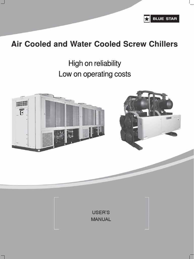 Blue Star Chiller Air & Water Cooled Screw Chiller R22 DX Manual | Heat  Exchanger | Gas Compressor