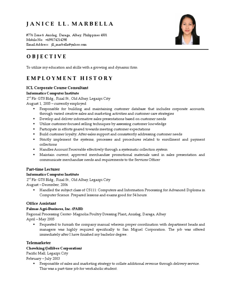 Generous Sample Resume For Part Time Job In Jollibee Contemporary