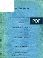F W Elphick OUTLINE NOTES The General Church The Hague Position Alpha Ladybrand OFS South Africa 1939