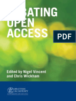 Debating Open Access (Nigel Vincent, Chris Wickham)
