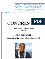 Congres du TAVINI HUIRAATIRA 18 et 19 octobre 2013
