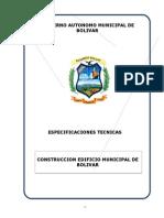 Especificaciones Tecnicas Edificio Municipal de Bolivar