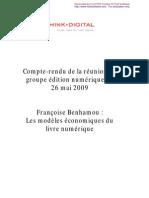CR Think Digital Benhamou - économie du livre numérique