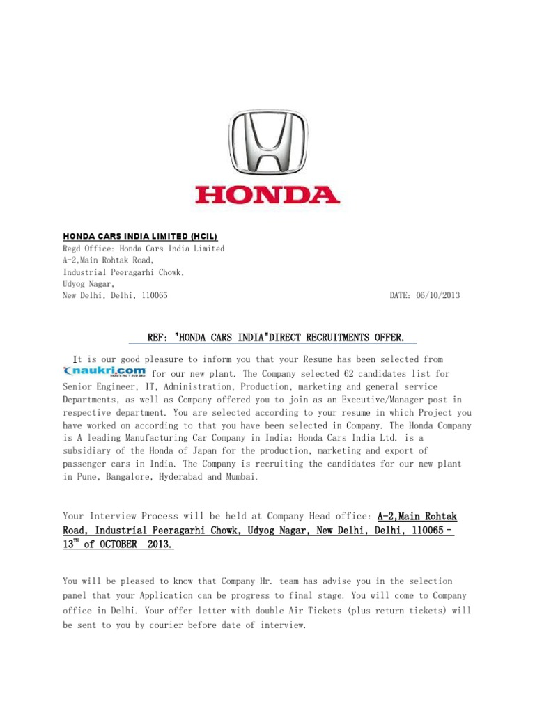 Hcil Honda Cars Interview Call Letter