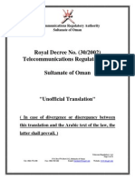 Oman Telecommunications Act of 2002