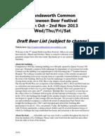 Wandsworth Halloween Fest Preliminary BEER List 2013