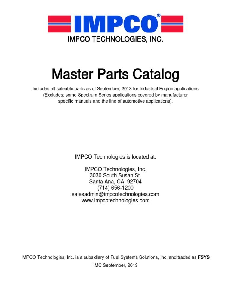 Impco master parts catalog sep 2013 lores carburetor internal impco master parts catalog sep 2013 lores carburetor internal combustion engine fandeluxe Images