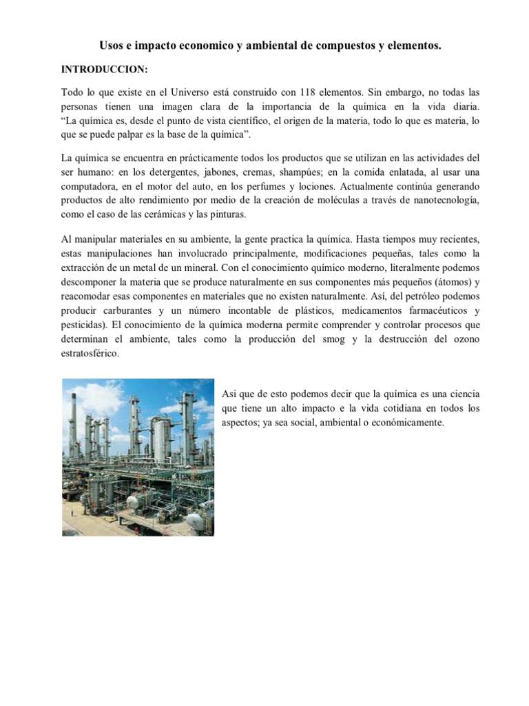 Usos e impacto economico y ambiental de compuestos y elementos qumicos urtaz Gallery