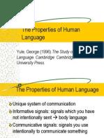 The Properties of Human Language
