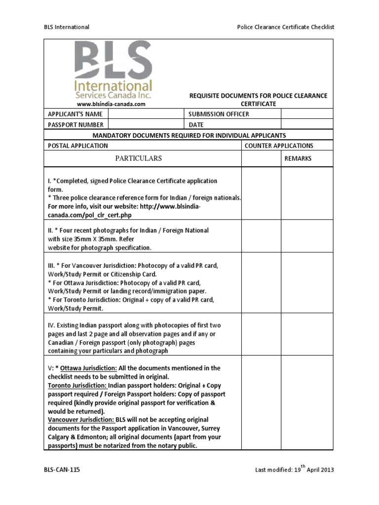 Bls can 115police clearance certificate checklist passport bls can 115police clearance certificate checklist passport notary public xflitez Choice Image