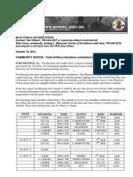 Ft. Benning Weapons Firing Schedule for Oct 18- Nov 19