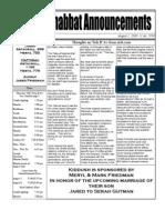 Shabbat Announcements, August 1, 2009