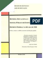 Reforma educacional e sistema público de ensino no Distrito Federal na década de 1920