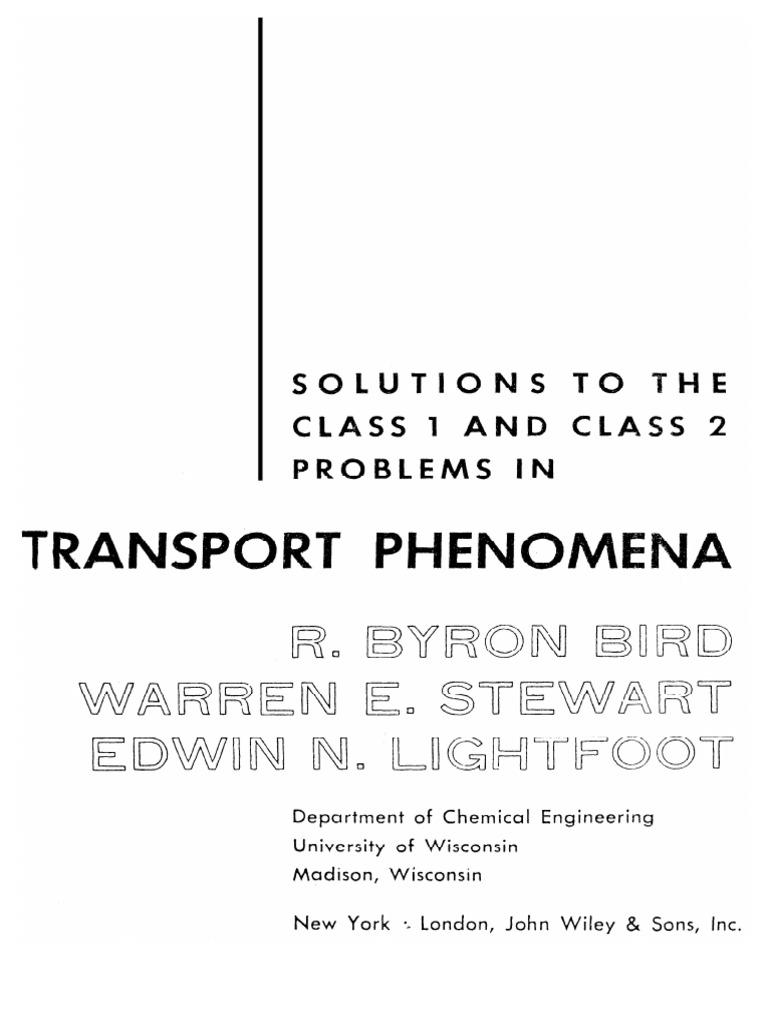 solution manual transport phenomena bird 1st edition rh es scribd com Transport Phenomena Equations analysis of transport phenomena deen solution manual download