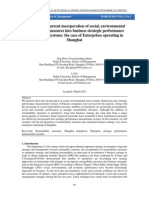 Analyzing the current incorporation of social, environmental nd economic measures into business strategic performance measurement systems