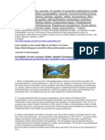 Water Sustainability, Security. Scientific Publications