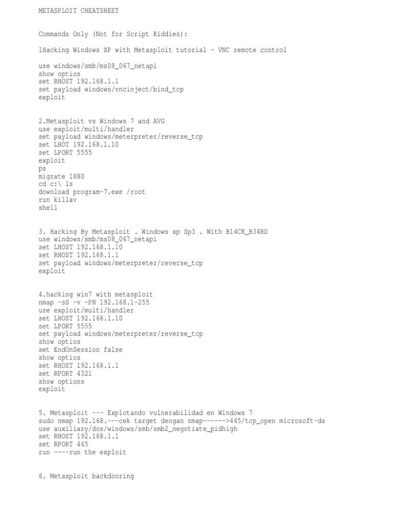 Windows command prompt nmap -  Metasploit