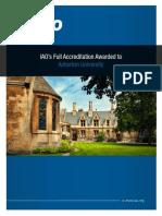 IAO grants full accreditation to Asherton University.