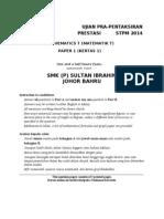 Mathematics T STPM 2014 Sem 1 Trial Paper  SIGS