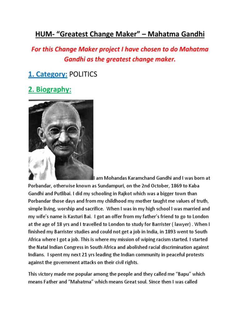 a biography of mohandas gandhi as mahatma meaning great soul