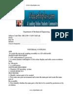 ME 2309 CAD LAB MANUAL PART & ASSEMBLE DIAGRAMS