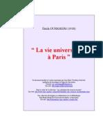 La vie universitaire à Paris Émile DURKHEIM