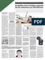 Proliferación de antenas en Miraflores se da por contratos entre vecinos y empresas