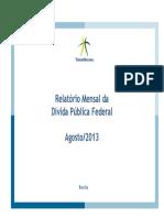 Relatório Mensal da Dívida Pública Agosto 2013