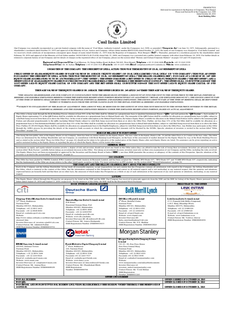 Coal India Ipo Final Prospectus Mining Economies