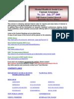 Mental Health Bulletin No 214 July 27th 2009