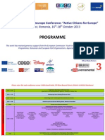 22nd Annual Volonteurope Conference Bucharest 16-18 October 2013 - Programme