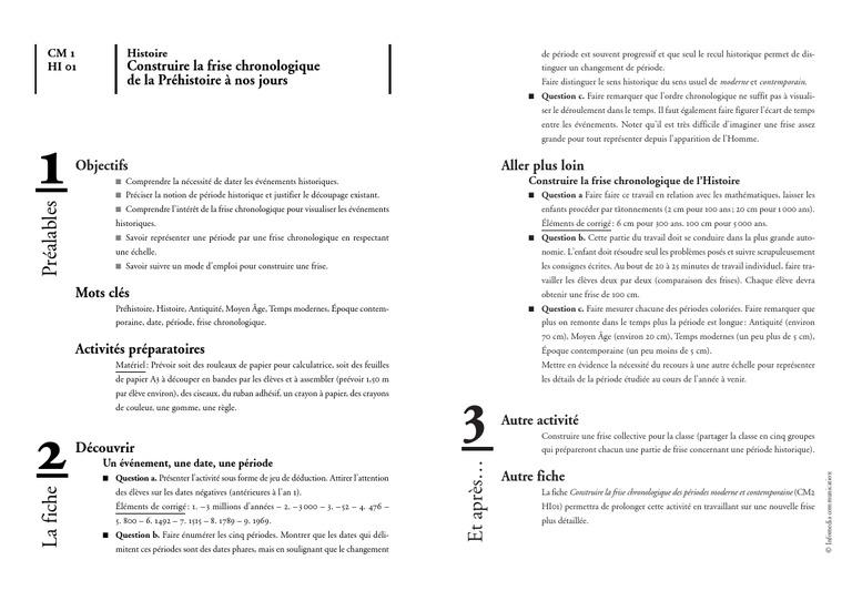 Construire La Frise Chronologique De La Prehistoire A No 1