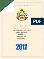 CARRERA QUIMICA INDUSTRIAL PRACTICAS DE MANUFACTURA