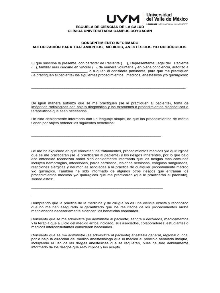 Bonito Plantilla De Consentimiento Escrito Embellecimiento - Ejemplo ...
